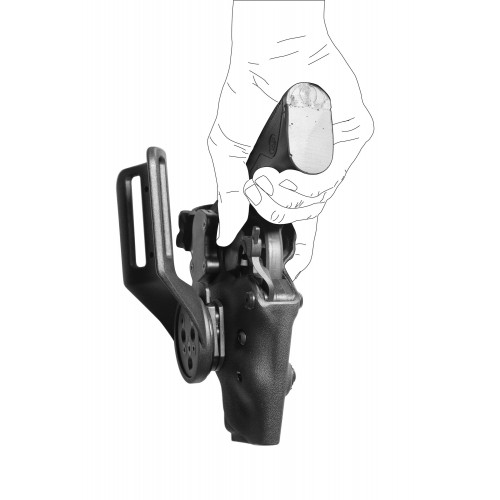 Holster gaucher Vegatek Short VKS8 noir pour PAMAS MAS-G1